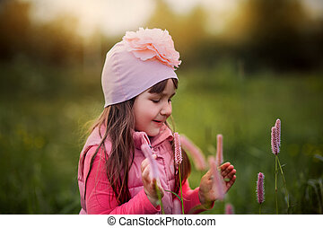 女の子, 肖像画, 花, 微笑