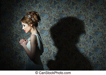 女の子, 肖像画, 若い, 毛, 波状, 美しい, ファッション, 写真