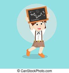 女の子, 背中, 学生, 学校