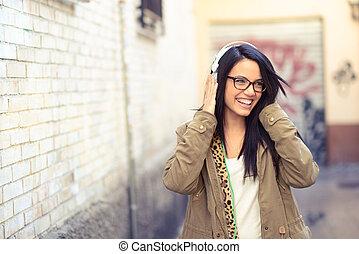 女の子, 背景, 若い, 魅力的, 都市