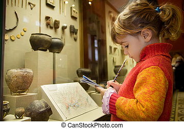 女の子, 脱線, 遺物, 展示物, 博物館, 古代, 歴史的, writing-books, 場合, 書く, ガラス