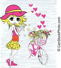 女の子, 自転車, かわいい