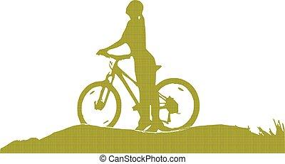 女の子, 自転車, シルエット