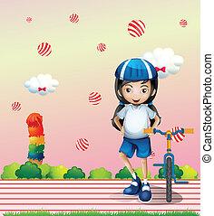 女の子, 自転車, 彼女