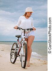 女の子, 自転車, 若い