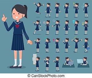 女の子, 船員, 1, スーツ, 平ら, タイプ, 学校