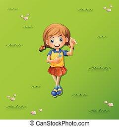 女の子, 芝生の上に横たわる