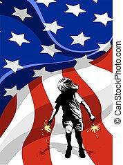 女の子, 花火, 旗, アメリカ, &