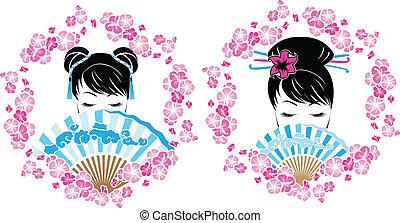 女の子, 花輪, sakura, アジア人