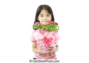 女の子, 花, うれしい, ポット