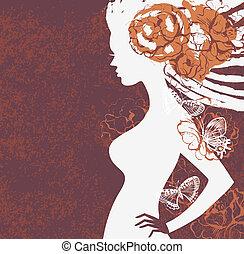 女の子, 花, シルエット
