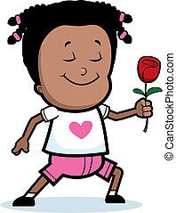女の子, 花