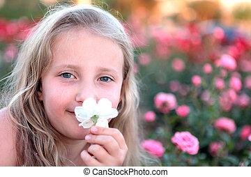 女の子, 花, 幸せ