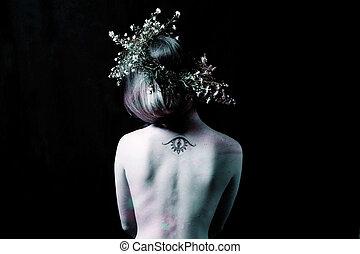 女の子, 花, 王冠