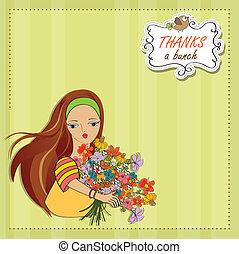 女の子, 花, 若い, 束