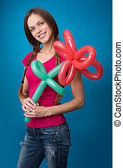 女の子, 花, balloon