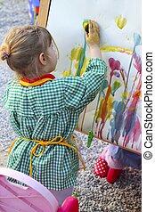 女の子, 芸術家, 抽象的な絵, 映像, 子供