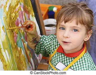 女の子, 芸術家, 肖像画, 絵, 水彩画, 学校