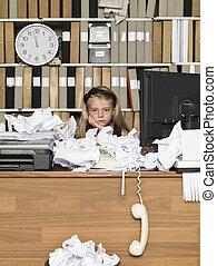 女の子, 若い, ビジネス, 疲れた