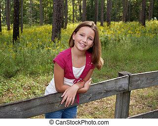 女の子, 若い, フェンス