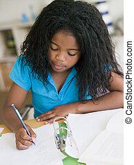 女の子, 若い, 宿題
