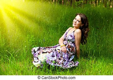 女の子, 若い, 牧草地