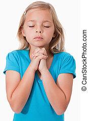 女の子, 若い, 祈ること, 肖像画