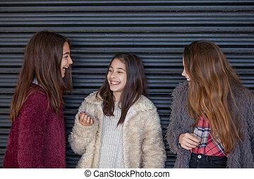 女の子, 若い, 笑い, 笑い
