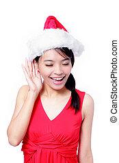 女の子, 若い, 聞くこと, クリスマス