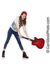 女の子, 若い, 隔離された, ギター, 白, 微笑