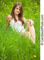 女の子, 草, あること