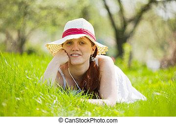 女の子, 草, 帽子, あること