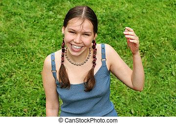 女の子, 草, 幸せ