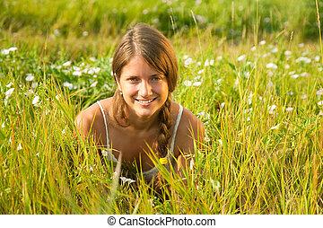 女の子, 草, 牧草地, あること