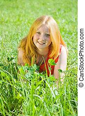 女の子, 草, 牧草地, ティーネージャー