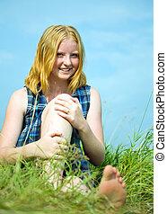 女の子, 草, 牧草地, モデル