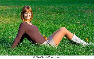 女の子, 草, 緑, 幸せ