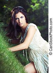 女の子, 草, 美しい