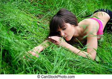 女の子, 草, field., あること, 肖像画