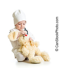 女の子, 衣服, 医者, 遊び, おもちゃ, 子供