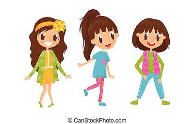 女の子, 衣類, ベクトル, 偶然, ポーズを取る, かわいい, セット, 地位