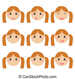 女の子, 表現, 顔