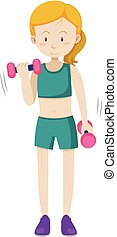 女の子, 訓練, 重量, 練習