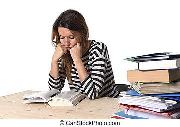 女の子, 試験, ストレス, 若い, 疲れた, テスト, 準備, 強調された, 学生, 圧倒された, mba, 勉強