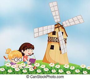 女の子, 読書, barnhouse, 丘の上