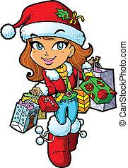 女の子, 買い物, クリスマス