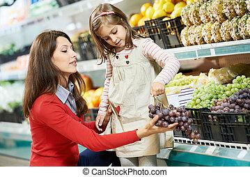 女の子, 買い物, スーパーマーケット, 母