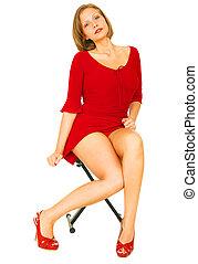女の子, 赤いシャツ, セクシー