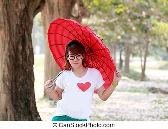 女の子, 赤い洋傘, 中に, ∥, park.
