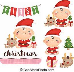 女の子, 赤ん坊, セット, クリスマス, ベクトル, 最初に